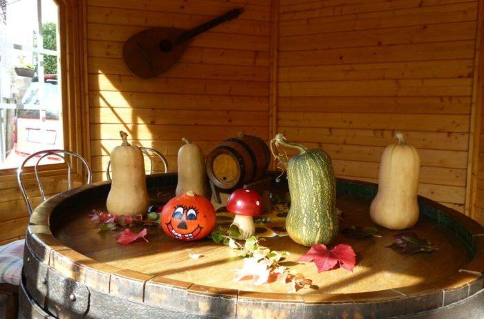 Gartenstube mit Kürbissen